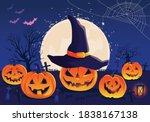 halloween fullmoon banner ... | Shutterstock .eps vector #1838167138