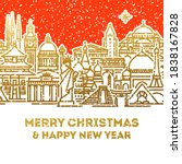 christmas card with seasons... | Shutterstock .eps vector #1838167828