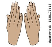 two human hands raised up in... | Shutterstock .eps vector #1838179615