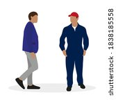 male character in a jacket and ... | Shutterstock .eps vector #1838185558
