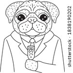 cute pug dog holding champagne... | Shutterstock .eps vector #1838190202