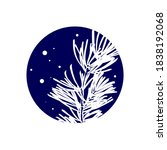 white pine branch in dark blue...   Shutterstock .eps vector #1838192068