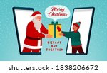 Happy Santa Claus Giving A...
