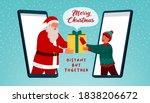 happy santa claus giving a... | Shutterstock .eps vector #1838206672