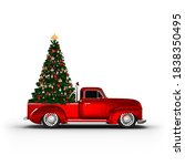 decorated christmas tree on the ... | Shutterstock . vector #1838350495