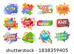 kids party emblem  logo  banner ... | Shutterstock .eps vector #1838359405