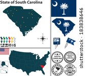 Vector set of South Carolina state with flag and icons on white background
