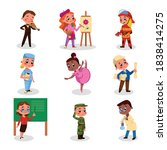 cute boys and girls of various... | Shutterstock .eps vector #1838414275