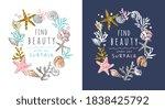 beauty slogan in seashells and... | Shutterstock .eps vector #1838425792