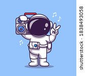 cute astronaut listening music... | Shutterstock .eps vector #1838493058