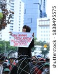Small photo of Jakarta, Indonesia – October 17th 2020 : Student rallies aim to reject the ratification of the OMNIBUS Law.