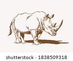 vintage drawing of rhino  ... | Shutterstock .eps vector #1838509318