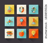 science icons in flat design... | Shutterstock .eps vector #183855026