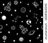 childish seamless pattern. hand ... | Shutterstock . vector #1838563045