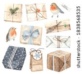 watercolor christmas presents... | Shutterstock . vector #1838568535