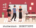 home party meeting flat vector...   Shutterstock .eps vector #1838573395