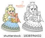 cute princess in blue dress...   Shutterstock .eps vector #1838596432