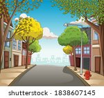street on a cartoon colorful... | Shutterstock .eps vector #1838607145