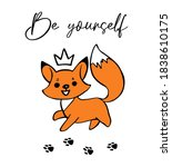 running fox foot print and... | Shutterstock .eps vector #1838610175