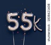 silver balloon 55k sign on dark ... | Shutterstock .eps vector #1838621608
