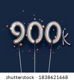silver balloon 900k sign on... | Shutterstock .eps vector #1838621668
