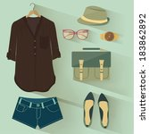 fashion set | Shutterstock .eps vector #183862892