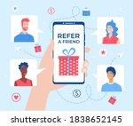 refer a friend lettering....   Shutterstock .eps vector #1838652145