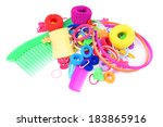 colorful comb barrette and... | Shutterstock . vector #183865916