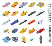 bathyscaphe icons set.... | Shutterstock .eps vector #1838677432