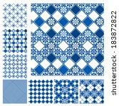 set of seamless patterns   blue ... | Shutterstock .eps vector #183872822
