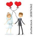 set of wedding pictures  bride... | Shutterstock .eps vector #183876362