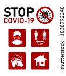 stop covid 19 coronavirus... | Shutterstock .eps vector #1838792248