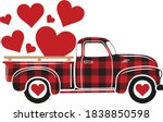 buffalo plaid truck with hearts ... | Shutterstock .eps vector #1838850598