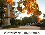 Small photo of The Memorial Obelisk of North Bridge, often colloquially called the Old North Bridge in Concord, Massachusetts . The bridge is a historic site in Concord, Massachusetts spanning the Concord River.