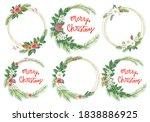 merry christmas evergreen... | Shutterstock . vector #1838886925