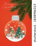 christmas bauble hanging on a... | Shutterstock .eps vector #1838986315