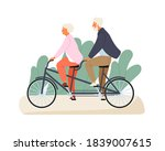 active grandparents ride tandem ... | Shutterstock .eps vector #1839007615