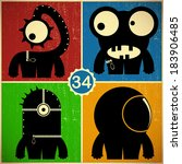 set of four monsters on retro... | Shutterstock .eps vector #183906485