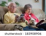 an older couple relaxes... | Shutterstock . vector #183908906