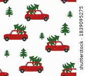 seamless pattern with red cars... | Shutterstock .eps vector #1839095275