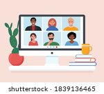 video conference with people... | Shutterstock .eps vector #1839136465