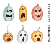 halloween carved pumpkins... | Shutterstock .eps vector #1839147535