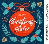 merry christmas sale vector... | Shutterstock .eps vector #1839193402