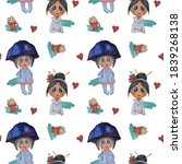Seamless Patterns With Cute...