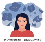 looking sad  anxious thoughts...   Shutterstock .eps vector #1839269458