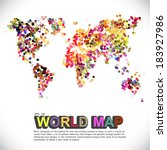 colorful   dotted world map | Shutterstock .eps vector #183927986