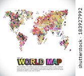 colorful   dotted world map | Shutterstock .eps vector #183927992