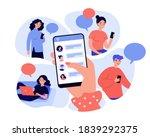 female hand holding smartphone... | Shutterstock .eps vector #1839292375
