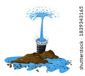 breakthrough of metal pipe and...   Shutterstock .eps vector #1839343165
