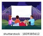 backyard cinema for kids semi... | Shutterstock .eps vector #1839385612